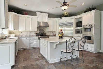 White wooden kitchen with tiled floor in Newmarket area